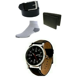 Mens Combo Belt And Wallet Leather Strap Watch And 1Pair Socks