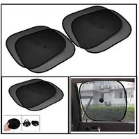 Hi Art Black Car Window Sun Shade For Honda Brio - Set Of 4