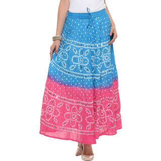 Ruhaans Multi Cotton Embroidered Casual Skirt
