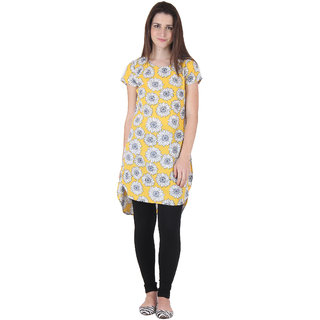 Ruhaans Yellow Crepe Floral Round Neck Casual Tunic