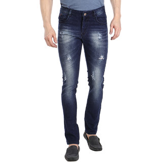 Fever Dark Blue Lycra Denim Solid Jeans