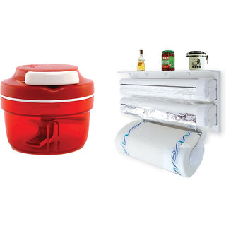 Triple Paper Dispenser for cling film wrap aluminium foil and kitchen roll with Red Stainless Steel Speedy Chopper