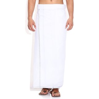 Fashionkiosks Mens Traditional Half Inch Silver Border Dhoti Set Dharma235