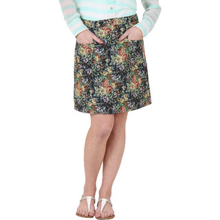 Ruhaans Green Jacquard Floral Casual Skirt