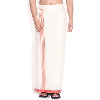 Fashionkiosks Mens Traditional 2 Inch Red Lines with Red Colour Border Dhoti Simbu185
