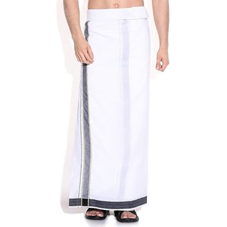 Fashionkiosks Mens Traditional 2 Inch Gold with Balck Colour Border Dhoti WhiteHills295