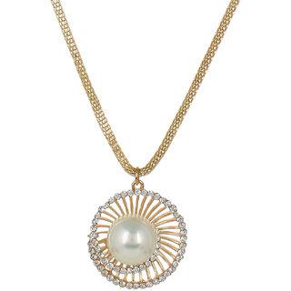 Fayon Fabulous Statement White Pearl Gold Chain Pendant  Necklace