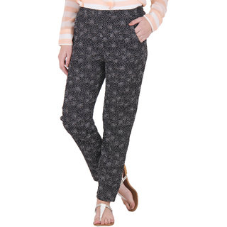 Ruhaans Black Polyester Printed Slim Fit Casual Trouser