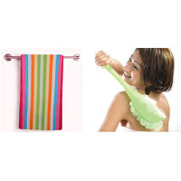 Furnishing King Combo one bath towel with one long handle bath brush