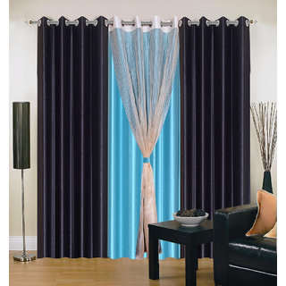 Akash Ganga Polyester Multicolor Eyelet Door Curtains (Set of 4) (7 Feet)