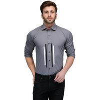 Edjoe Mens Grey Double Stripe In Front Slimfit Casual/Club/Partywear Shirt, BLEDMS0120