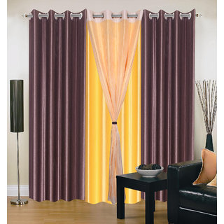 Akash Ganga Polyester Multicolor Eyelet Door Curtains (Set of 4) (7 Feet) CUR4-ST-311-7