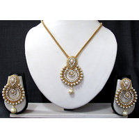Golden White Drop Stone Pendant Chain Necklace Set