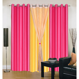 Akash Ganga Polyester Multicolor Eyelet Door Curtains (Set of 4) (7 Feet) CUR4-ST-317-7