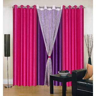 Akash Ganga Polyester Multicolor Eyelet Door Curtains (Set of 4) (7 Feet) CUR4-ST-320-7