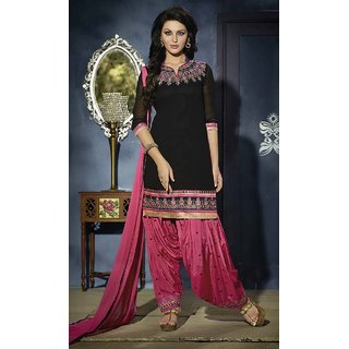 RapidDukan Un-Stitched Black Color Straight Salwar Suit Dupatta Material SF529