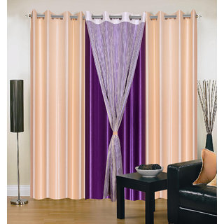 Akash Ganga Polyester Multicolor Eyelet Door Curtains (Set of 4) (7 Feet) CUR4-ST-322-7