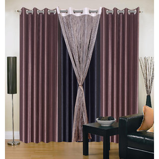 Akash Ganga Polyester Multicolor Eyelet Door Curtains (Set of 4) (7 Feet) CUR4-ST-331-7