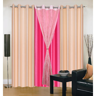 Akash Ganga Polyester Multicolor Eyelet Door Curtains (Set of 4) (7 Feet) CUR4-ST-338-7