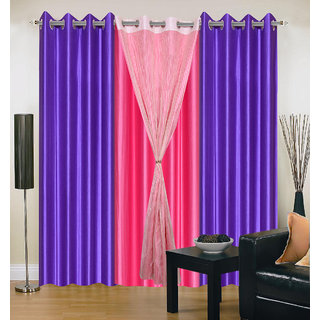 Akash Ganga Polyester Multicolor Eyelet Door Curtains (Set of 4) (7 Feet) CUR4-ST-341-7