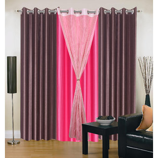 Akash Ganga Polyester Multicolor Eyelet Door Curtains (Set of 4) (7 Feet) CUR4-ST-342-7