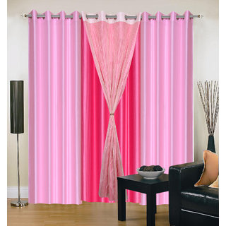 Akash Ganga Polyester Multicolor Eyelet Door Curtains (Set of 4) (7 Feet) CUR4-ST-343-7