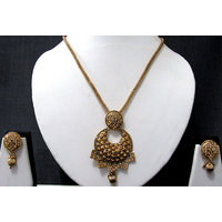 Circle Pendant Square Drop Chain Necklace Set