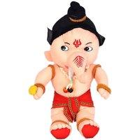 VRV Beige Furr and Cloth Soft Lord Ganesha 25cm