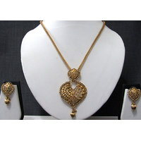 Heart Shape Pendant Golden Drop Chain Necklace set