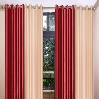 Akash Ganga Polyester Multicolor Eyelet Door Curtains (Set of 4) (7 Feet) CUR4-ST-344-7