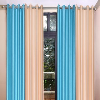 Akash Ganga Polyester Multicolor Eyelet Door Curtains (Set of 4) (7 Feet) CUR4-ST-351-7