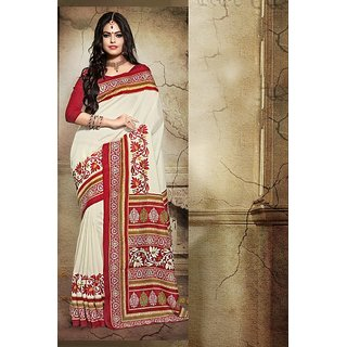 Sareemall Beigered Printed Bhagalpuri Silk Saree With Unstitched Blouse 5PJ504