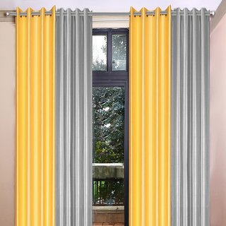 Akash Ganga Polyester Multicolor Eyelet Door Curtains (Set of 4) (7 Feet) CUR4-ST-357-7