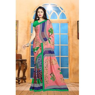 Thankar online trading Multicolor Georgette Printed Saree With Blouse