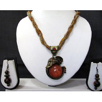 Fancy Maroon Elephant Face Pendant Necklace Set