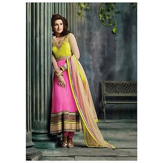 Net With Chiffon Yellow And Pink Anarkali Suit Material