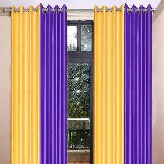 Akash Ganga Polyester Multicolor Eyelet Door Curtains (Set of 4) (7 Feet) CUR4-ST-365-7