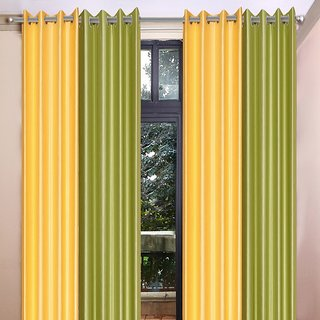Akash Ganga Polyester Multicolor Eyelet Door Curtains (Set of 4) (7 Feet) CUR4-ST-367-7