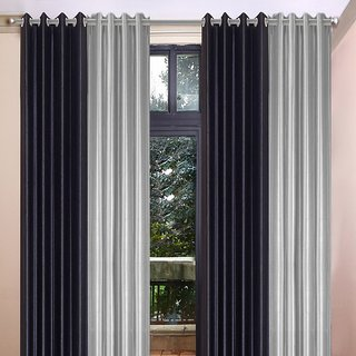 Akash Ganga Polyester Multicolor Eyelet Door Curtains (Set of 4) (7 Feet) CUR4-ST-370-7