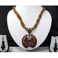 Fancy Maroon Pendant Necklace Set