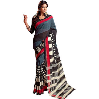 Sareemall Grey Printed Designer Art Silk Saree 100-8011A