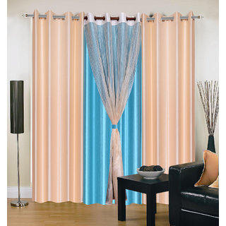 Akash Ganga Polyester Multicolor Eyelet Long Door Curtains (Set of 4) (9 Feet) CUR4-ST-401-9
