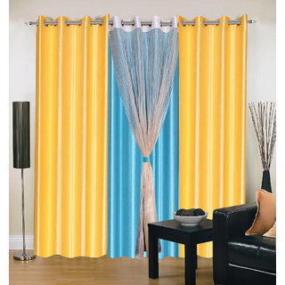 Akash Ganga Polyester Multicolor Long Door Eyelet Curtains (Set of 4) (9 Feet) CUR4-ST-402-9