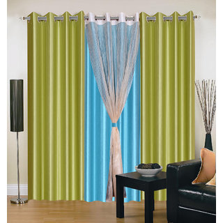 Akash Ganga Polyester Multicolor Long Door Eyelet Curtains (Set of 4) (9 Feet) CUR4-ST-403-9