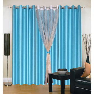 Akash Ganga Polyester Multicolor Long Door Eyelet Curtains (Set of 4) (9 Feet) CUR4-ST-406-9