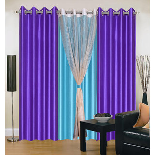 Akash Ganga Polyester Multicolor Long Door Eyelet Curtains (Set of 4) (9 Feet) CUR4-ST-407-9