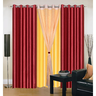 Akash Ganga Polyester Multicolor Long Door Eyelet Curtains (Set of 4) (9 Feet) CUR4-ST-412-9
