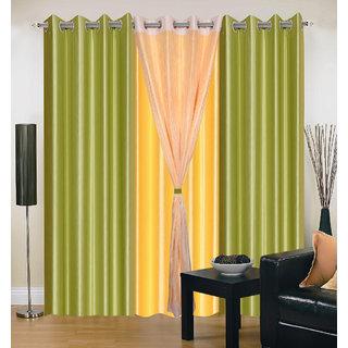 Akash Ganga Polyester Multicolor Long Door Eyelet Curtains (Set of 4) (9 Feet) CUR4-ST-413-9