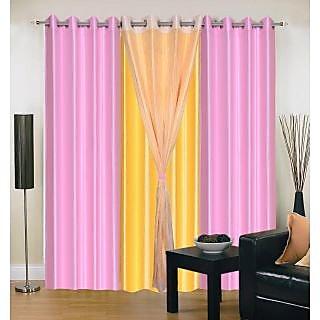 Akash Ganga Polyester Multicolor Long Door Eyelet Curtains (Set of 4) (9 Feet) CUR4-ST-416-9