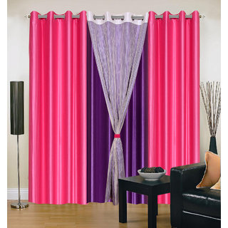 Akash Ganga Polyester Multicolor Long Door Eyelet Curtains (Set of 4) (9 Feet) CUR4-ST-421-9